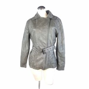Mossimo Size L Faux Leather Jacket Belted Gray